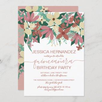 Pink Ivory Floral Greenery Bouquet Quinceañera Invitation
