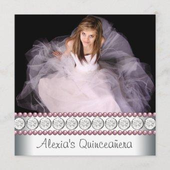 Pink Pearl White Pink Photo Quinceanera Invitation