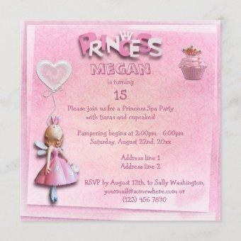 Pink Princess 15th Birthday Spa Party Double Sided Invitation