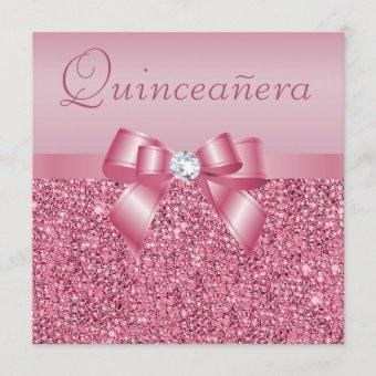 Pink Printed Sequins & Bow Quinceanera Invitation