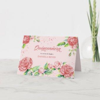 Pink Rose Flowers Watercolor Floral Quinceanera Invitation