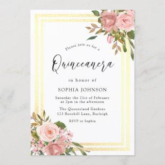 Pink Rose Gold Flowers Double Border Quinceanera Invitation