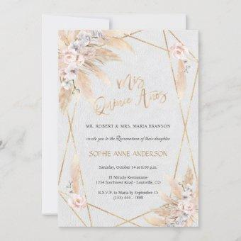 Pink Rose White Orchid Pampas Grass Quinceañera Invitation