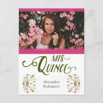 Pink Traditional Mexican Floral Photo Quinceanera Invitation Postcard