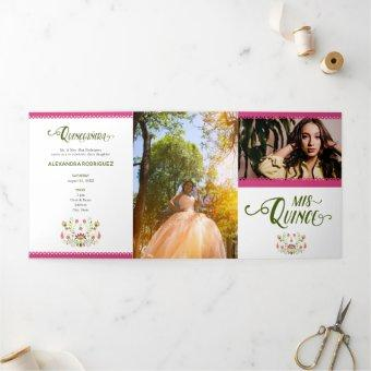 Pink Traditional Mexican Floral Photo Quinceanera Tri-Fold Invitation