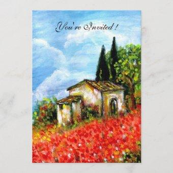 POPPIES TUSCANY LANDSCAPE Red Flower Fields White Invitation