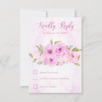 Pretty Pink Floral and Calligraphy RSVP Card