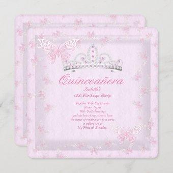 Pretty Pink Quinceanera Party Tiara Butterflies 2 Invitation