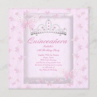 Pretty Pink Quinceanera Party Tiara Butterflies Invitation