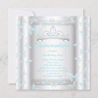 Pretty Teal Blue Quinceanera Party Tiara Butterfly Invitation