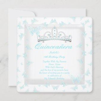 Pretty Teal White Quinceanera Tiara Butterfly Invitation