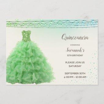 Princess Bright Green Gown Lights Quinceanera Invitation