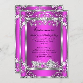 Princess Quinceanera 15th Party Pink Silver Invitation