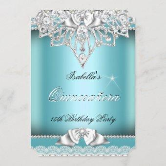 Princess Quinceanera Girl Teal Lace 15th Party 3 Invitation