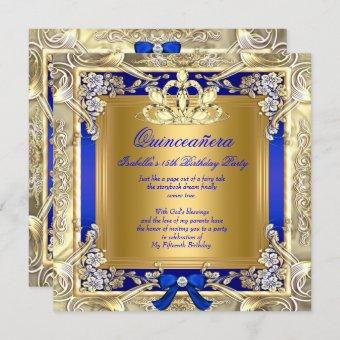 Princess Quinceanera Gold Royal Blue Silver Party Invitation