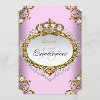 Princess Quinceanera Party Pink Gold White Invitation