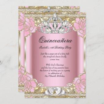 Princess Quinceanera Pink Gold 15th Birthday Party Invitation