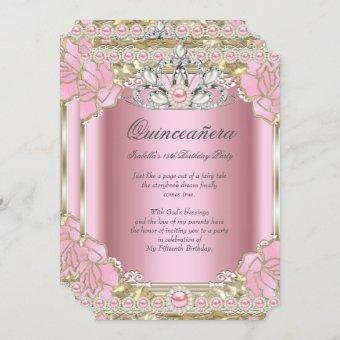 Princess Quinceanera Pink Pearl Birthday Party Invitation