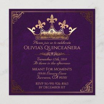 Purple and Gold Royal Quinceanera Invitation