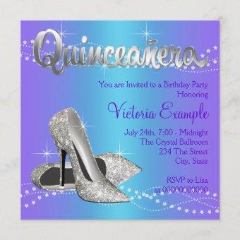 Purple and Teal Blue Quinceanera Invitation