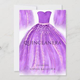 Purple & Gold Quinceanera Mermaid Dress Gown Party Invitation