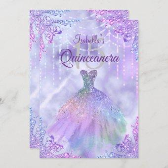 Purple Lilac Silver Pearl Gown Quinceanera Party Invitation