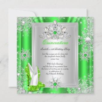 Quinceanera 15 Birthday Party Lime Green Heels 2 Invitation