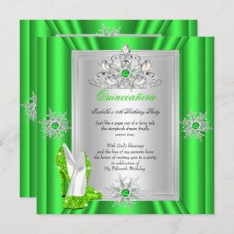Quinceanera 15 Birthday Party Lime Green Heels Invitation