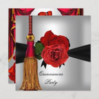 Quinceanera 15 Birthday Party Red Silver rose Invitation