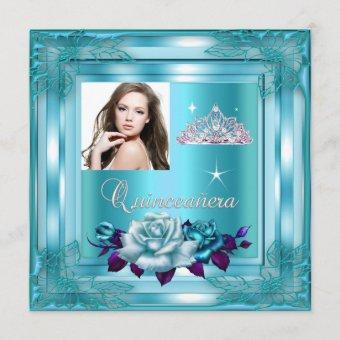 Quinceanera 15 Party Blue Teal Roses Photo Invitation