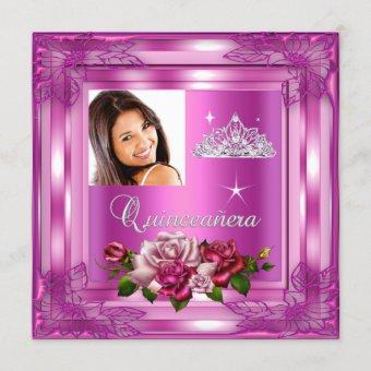 Quinceanera 15 Party Pink Roses Photo Invitation