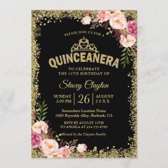 Quinceanera 15th Birthday - Black Gold Pink Floral Invitation