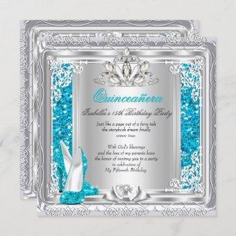 Quinceanera 15th Birthday Glitter Teal Shoes Invitation