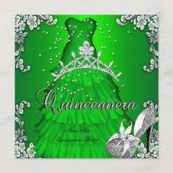 Quinceanera 15th Birthday Lime Green Dress Gown Invitation
