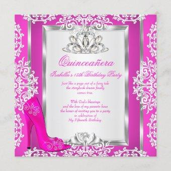 Quinceanera 15th Birthday Magical Hot Pink Shoe Invitation