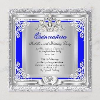 Quinceanera 15th Birthday Party Blue Silver Invitation