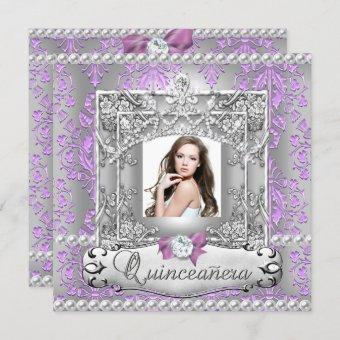 Quinceanera 15th Birthday Party Damask Lilac Invitation