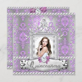 Quinceanera 15th Birthday Party Damask Lilac Pearl Invitation