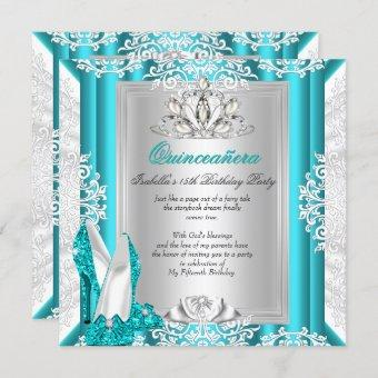 Quinceanera 15th Birthday Party Glitter Blue Shoes Invitation