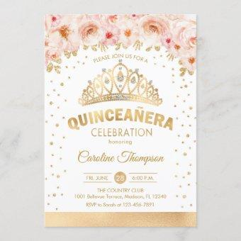 Quinceanera 15th Birthday Party - Gold Pink Floral Invitation