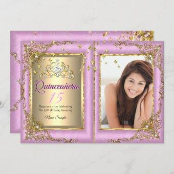 Quinceanera 15th Birthday Party Gold Pink Photo Invitation