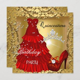 quinceanera 15th Birthday Party Gold Red Dress Invitation