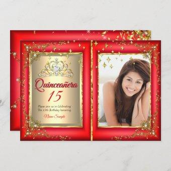 Quinceanera 15th Birthday Party Gold Red Photo Invitation