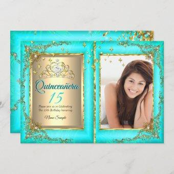 Quinceanera 15th Birthday Party Gold Teal Photo Invitation