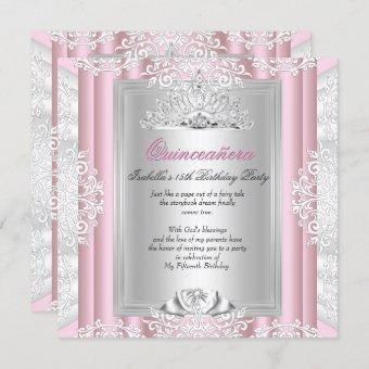 Quinceanera 15th Birthday Party Light Pink Lace Invitation