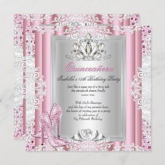 Quinceanera 15th Birthday Party Light Pink Shoes 3 Invitation