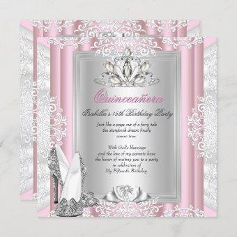 Quinceanera 15th Birthday Party Light Pink Shoes Invitation