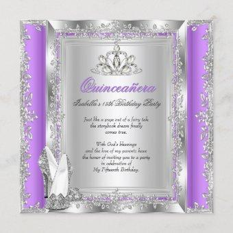 Quinceanera 15th Birthday Party Lilac Silver Shoes Invitation