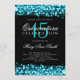 Quinceanera 15th Birthday Party Sparkles Turquoise Invitation