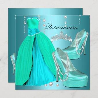 Quinceanera 15th  Birthday Party Teal Blue Dress Invitation